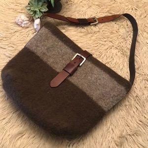 Handbags - Gorgeous Wool Bag-Leather Straps-Brown&Gray-17x15